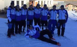 The team at St Moritz for the uni races. (L-R; Ollie Eaton, myself, Rudy Dickson, Paul Henderson, Angus Wills, Jack Elliss, Fraser Middleton, Kieran Norris and Tom White)