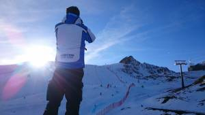 Coach, Tom White, in the new Ambition kit at St. Moritz fliming our boys