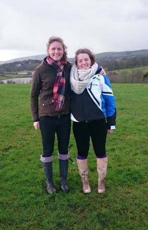 Bethany and I in the classic rainy weather of England
