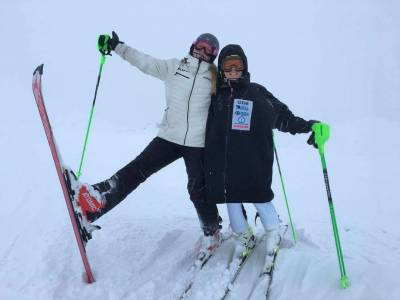 With Greta Small when the snow hijacked our training