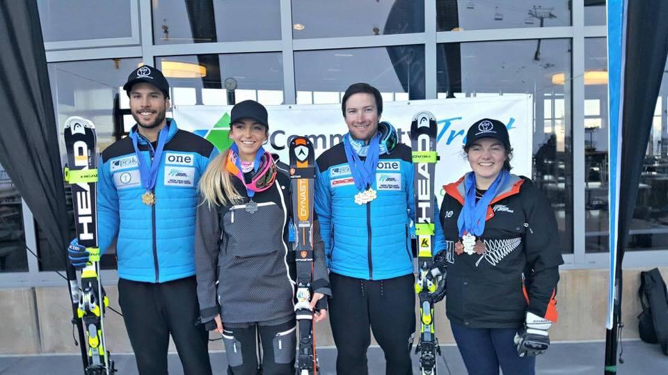 NZ National Ski Team 2016 (L-R Adam Barwood, Piera Hudson, Willis Feasey and I)