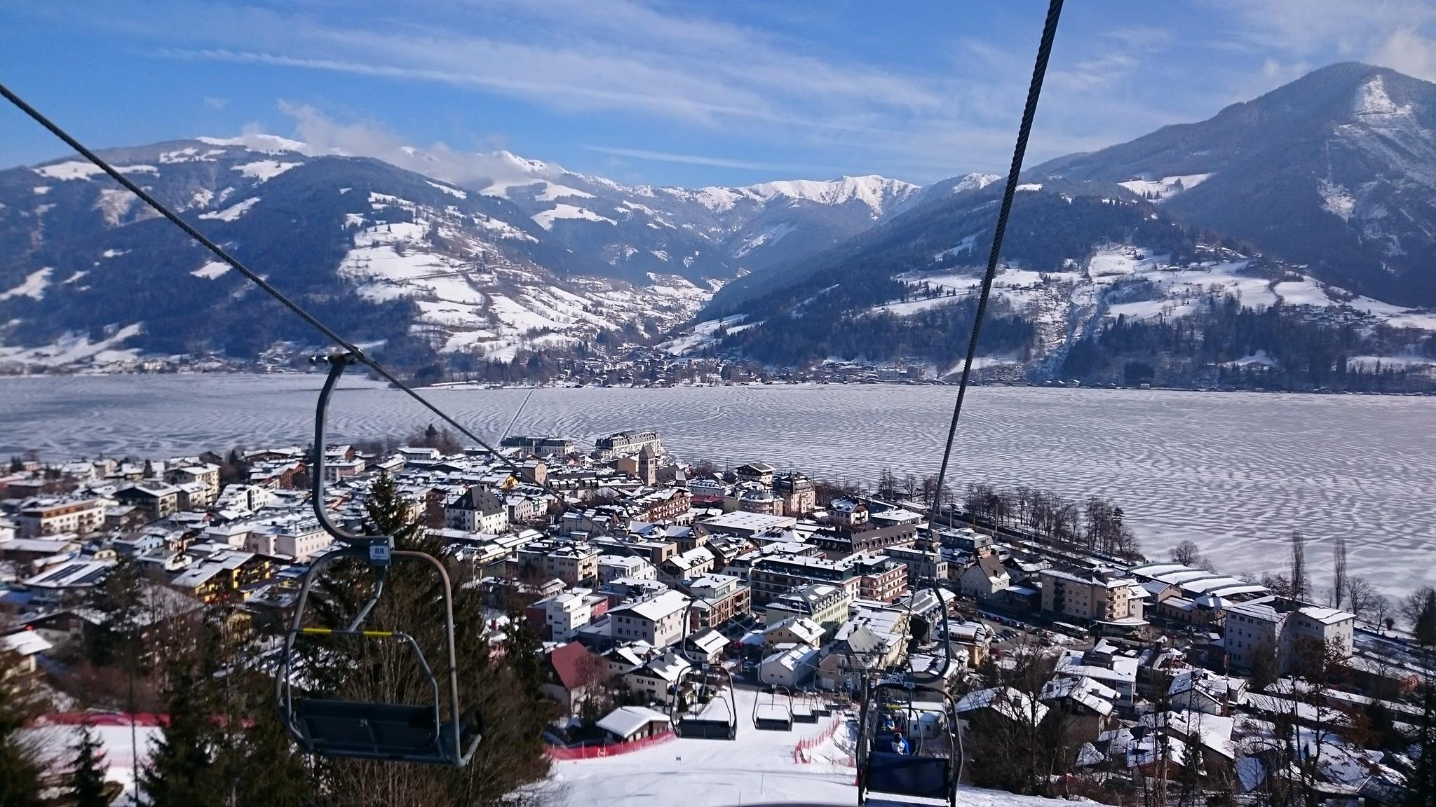 View from the training chairlift, across Zell am See, Austria