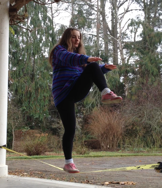 Slacklining on the front porch