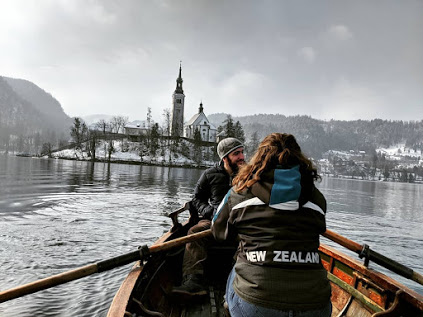 Rowing Lake Bled with my brothers