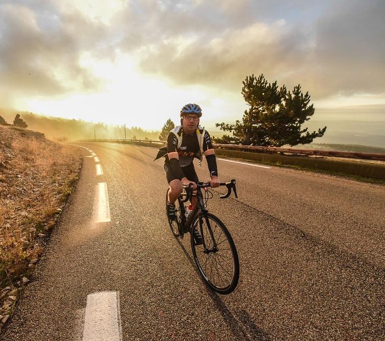 A rider ascends Mt Ventoux, Courtesy Haute Route/OC Sport