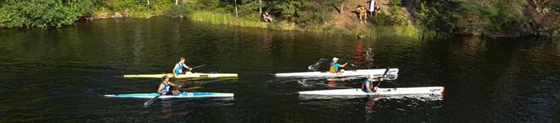 four competitors, kayaks, Dalsland Canoe Marathon +
