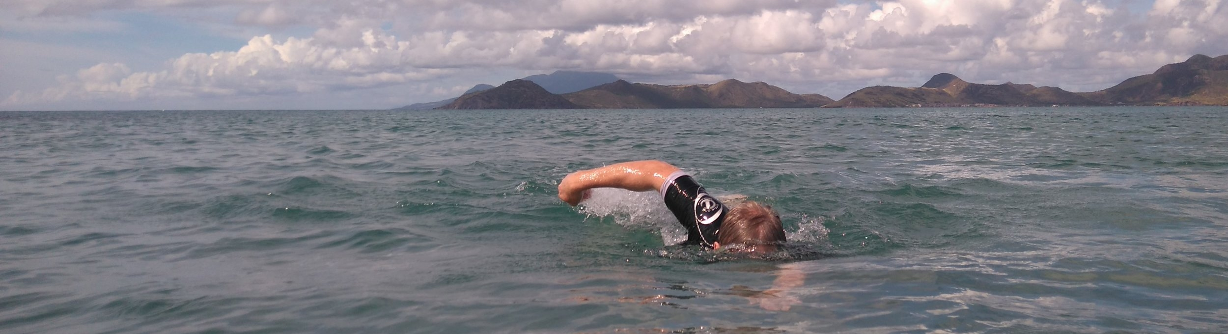 swimming the Narrows between Nevis and St Kitts