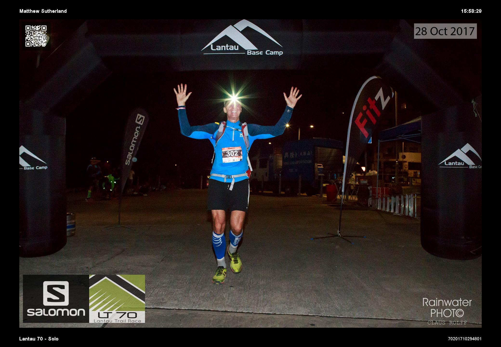 Matthew Sutherland cross the finish line