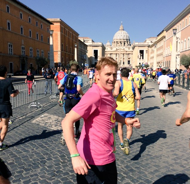 John Mayock in the Rome Marathon