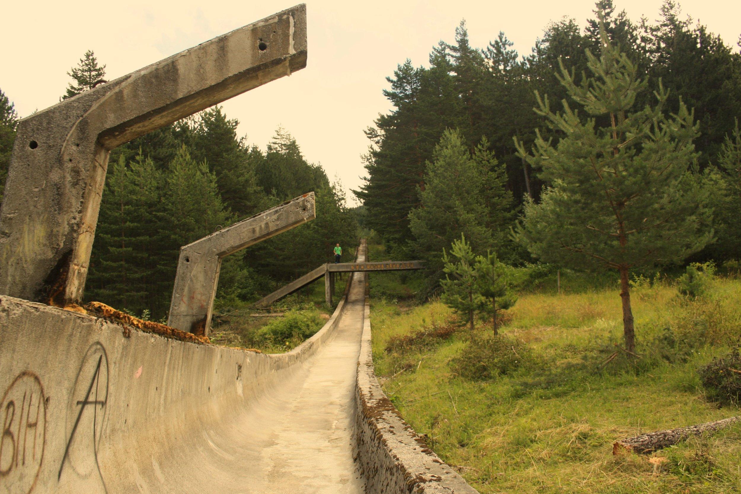 La piste de bobsleigh du Mont Trebevic (photo de Sophie Gleizes)