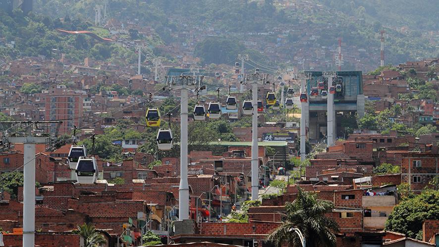 Téléphérique à Medellin, Colombie.