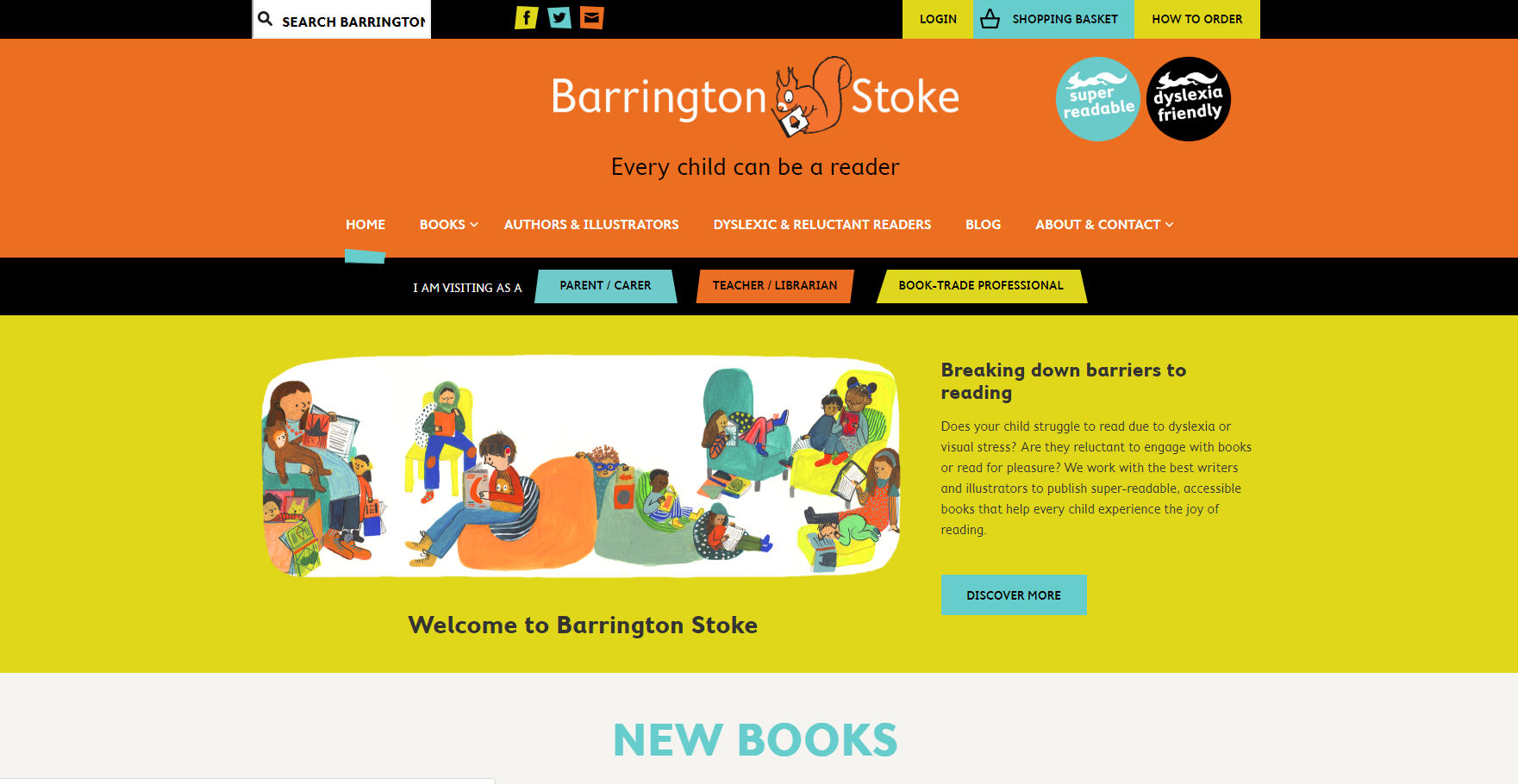 Websites - A website presence is essential for an author or brand that really wants to stand out. I can build basic WordPress and SquareSpace sites and draft all the necessary handover notes so you can be fully in charge of your own site.Rates: £150 a day or £20 an hour(Website pictured: barringtonstoke.co.uk, conception by myself and execution by BookSwarm)