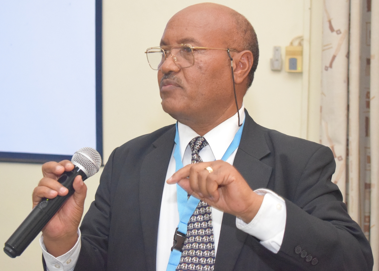 Dr. Teshome Desta, WHO - Medical Officer, Child Adolescent Health, ESA addresses the conference.