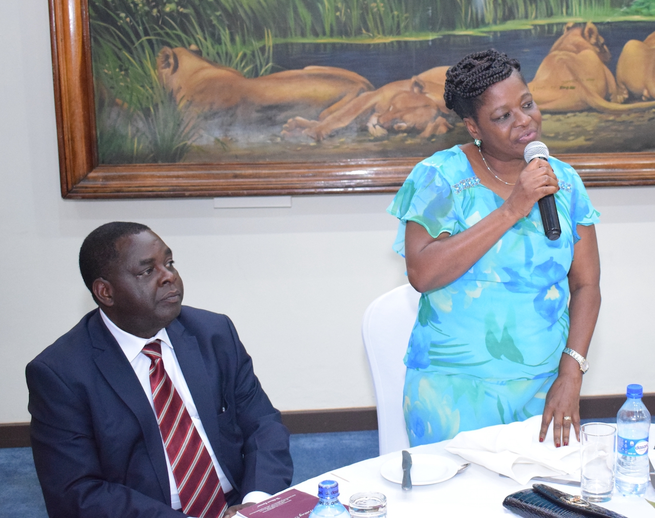 H.E. Nazi Kivutha, Makueni County's First Lady and Chair of the County First Ladies Association speaks at the event as Dr. Stewart Kabaka, Deputy Head, Neonatal, Child and Adolescent Health Unit, MOH – Kenya listen