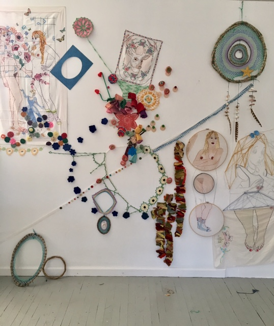 Fiber mixed media installation