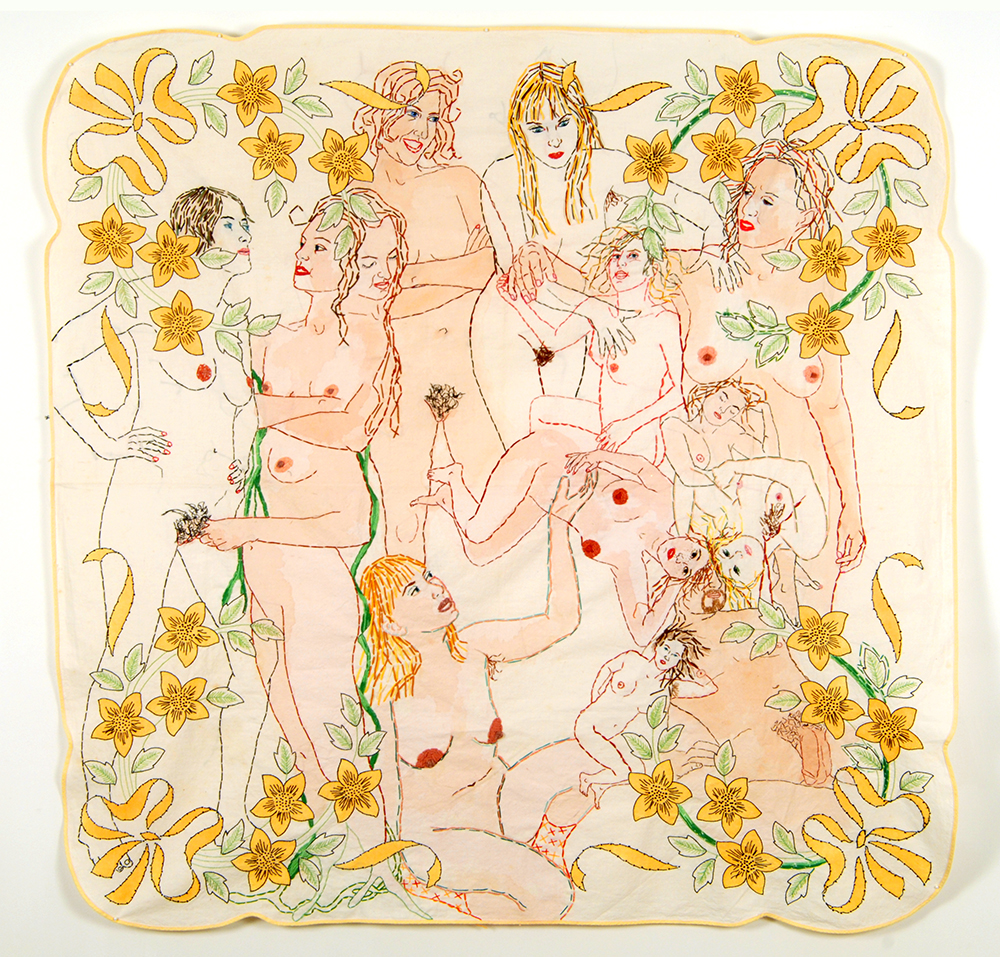 Allegory Hand stitched embroidery,appliqué and paint on vintage print table linen  50x50 inches.jpg