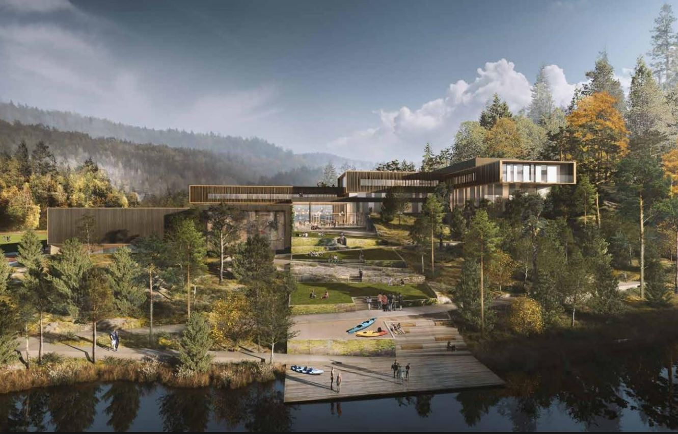 Slik blir den nye videregående skolen. Illustrasjonsfoto: Link Arkitektur / Snøhetta / Veidekke