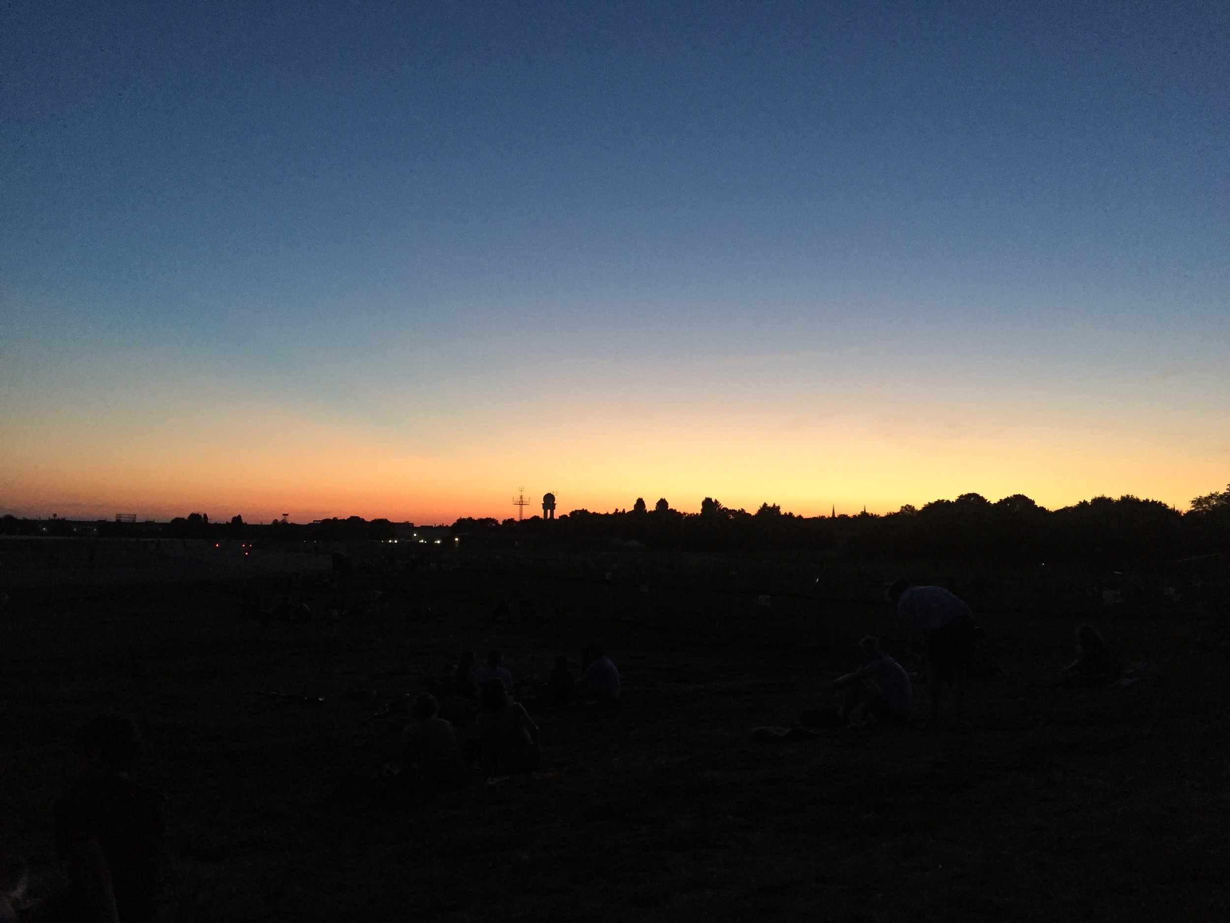 Beautiful sunset over Tempelhof.