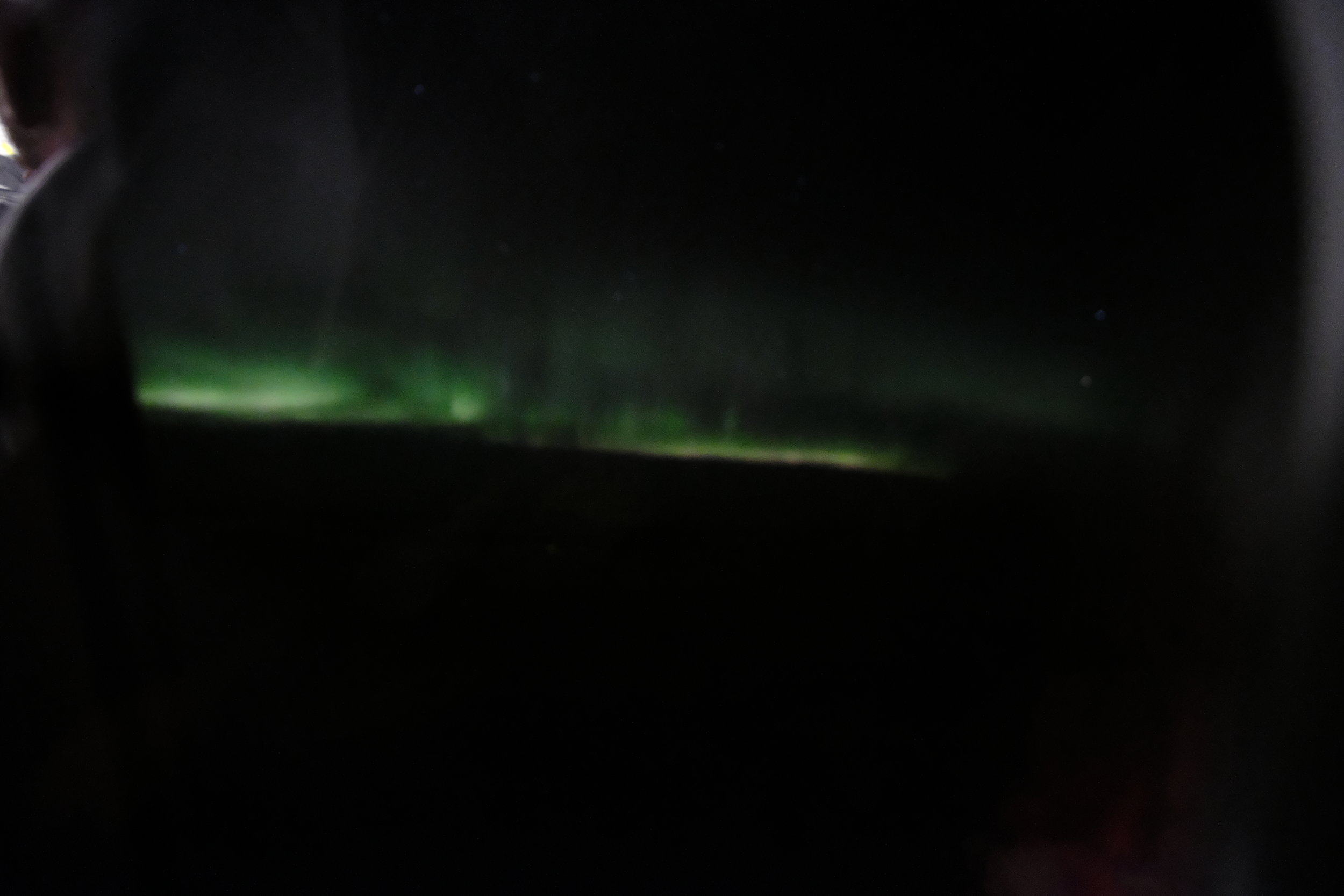 When we saw the green dancing streaks of light, I was happy as a child.