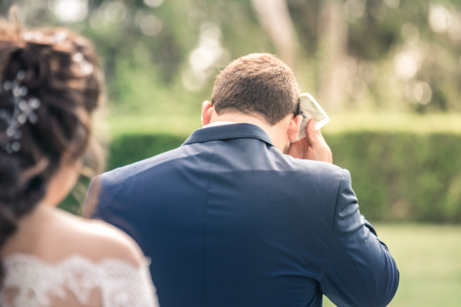 Portrait of groom waiting and Anticipating His bride On their wedding day for the first lookin Brea California
