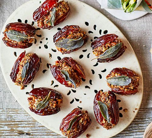 PECAN STUFFED DATES   These more-ish bites require less than 10 ingredients and are easy to make! We love the the combination of nutty and sweet flavours.