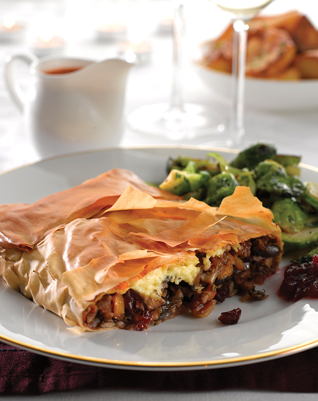 VEGAN WENSLEYDALE AND CRANBERRY FILO PILLOW   A vegan take on one of our favourite festive canapes! This recipe is for a main dish, but can easily be adapted by separating the mixture into separate little filo squares and folding the corners up to make them into parcels!