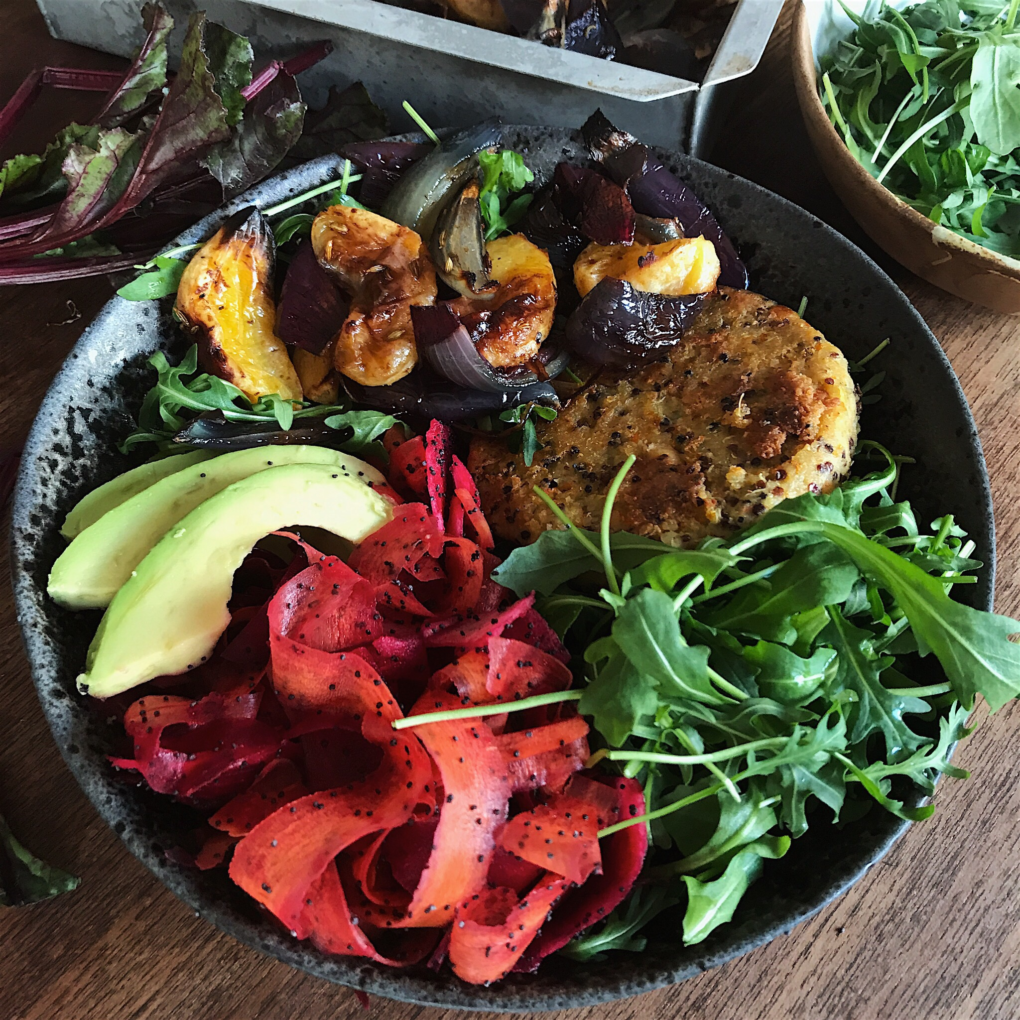 'QUINWAH' BOWL WITH ROASTED ORANGE AND A PICKLED CARROT AND BEETROOT SLAW