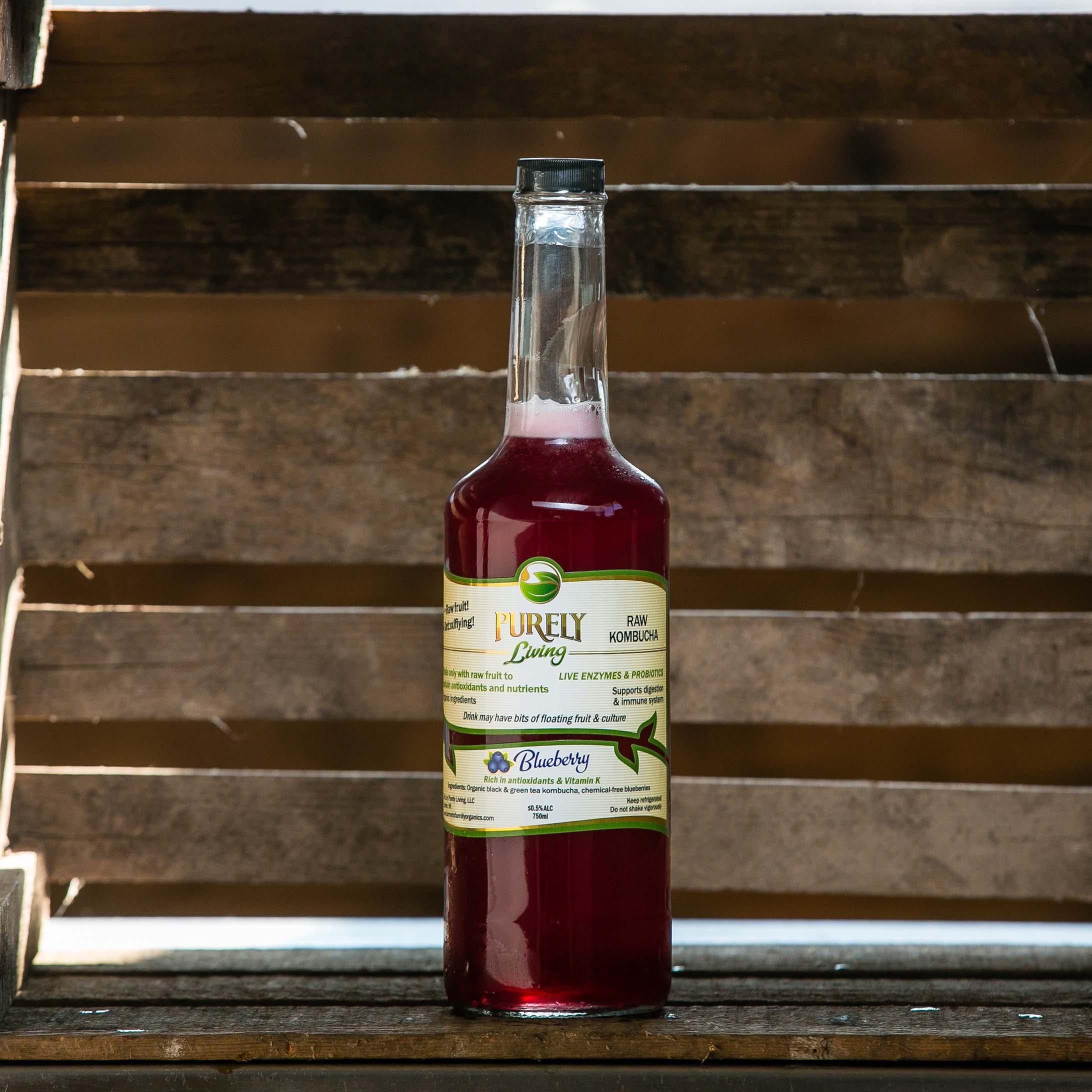 Blueberry - Ingredients: Organic Black and Green Tea Kombucha, Organic Raw Blueberries. More info.