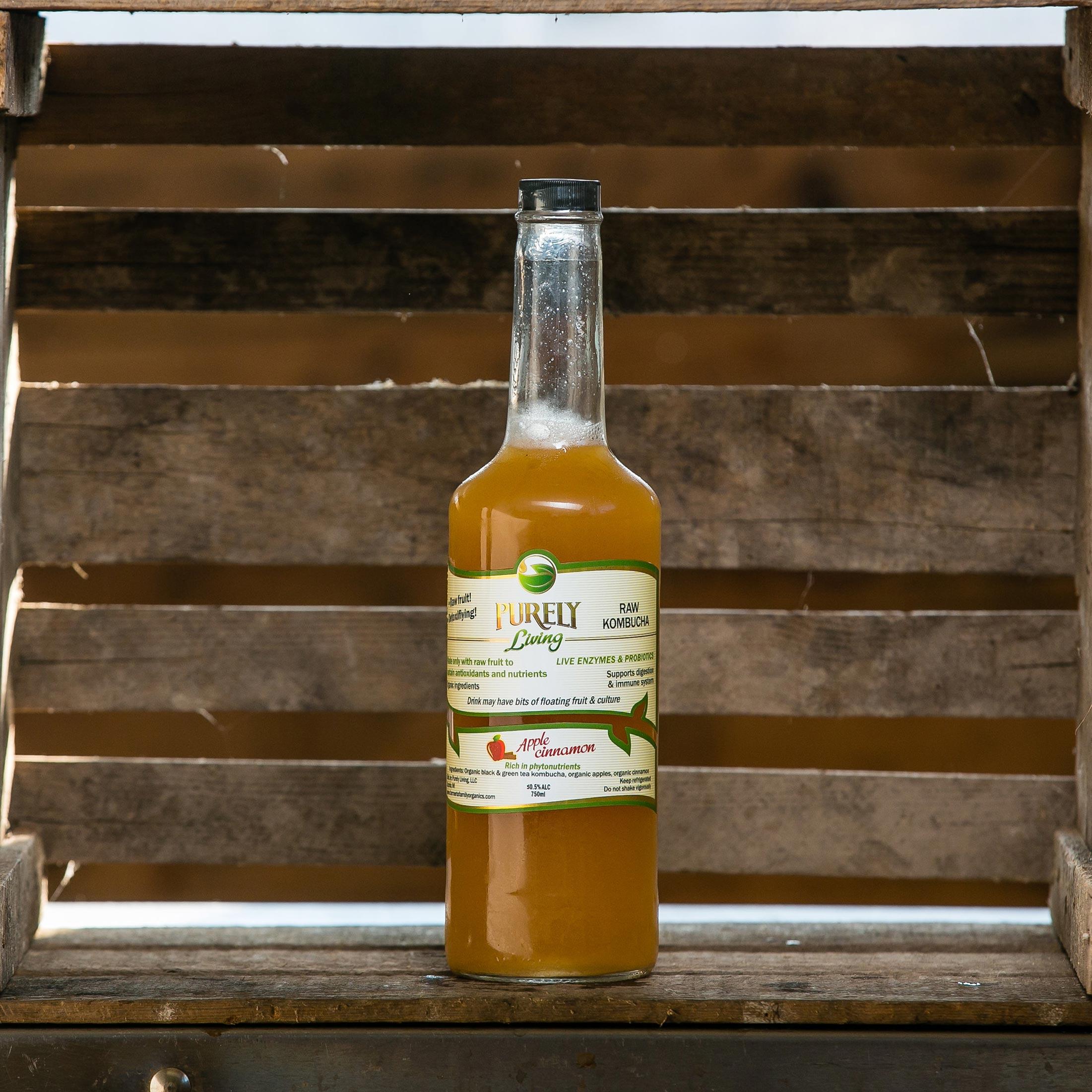 Apple Cinnamon - Ingredients: Organic Black and Green Tea Kombucha, Organic Raw Apples, Organic Cinnamon