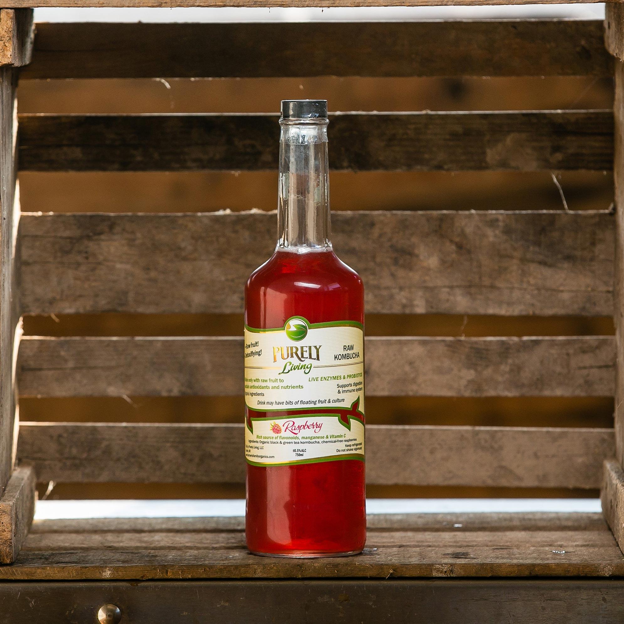Raspberry - Ingredients: Organic Black and Green Tea Kombucha, Raw Raspberries