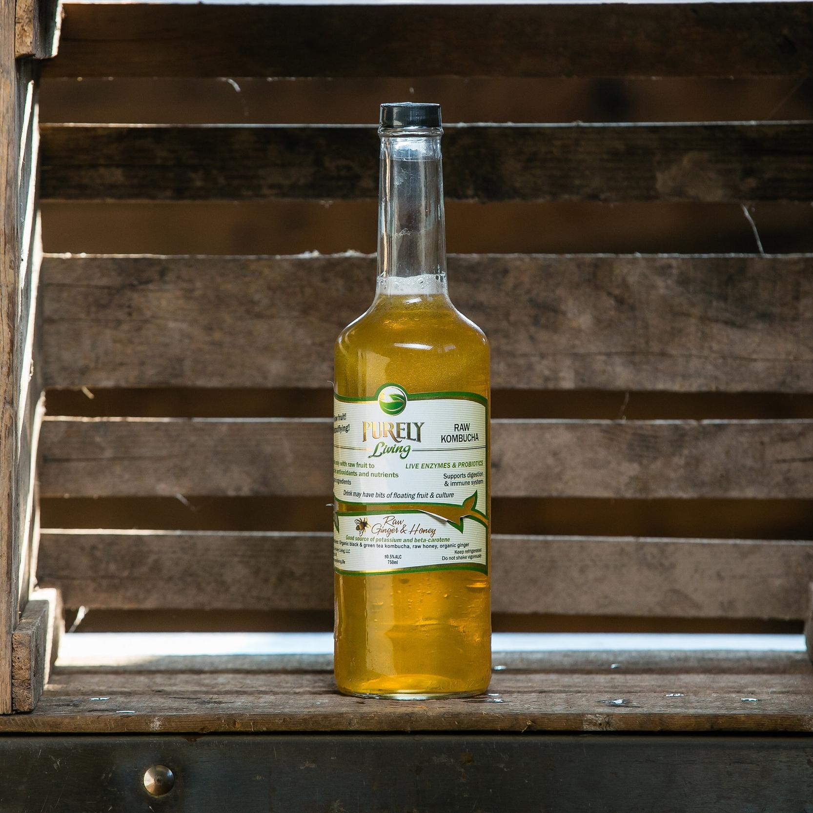 Ginger Honey - Ingredients: Organic Black and Green Tea Kombucha, Organic Raw Ginger, Wisconsin Natural Acres Raw Honey. More info.