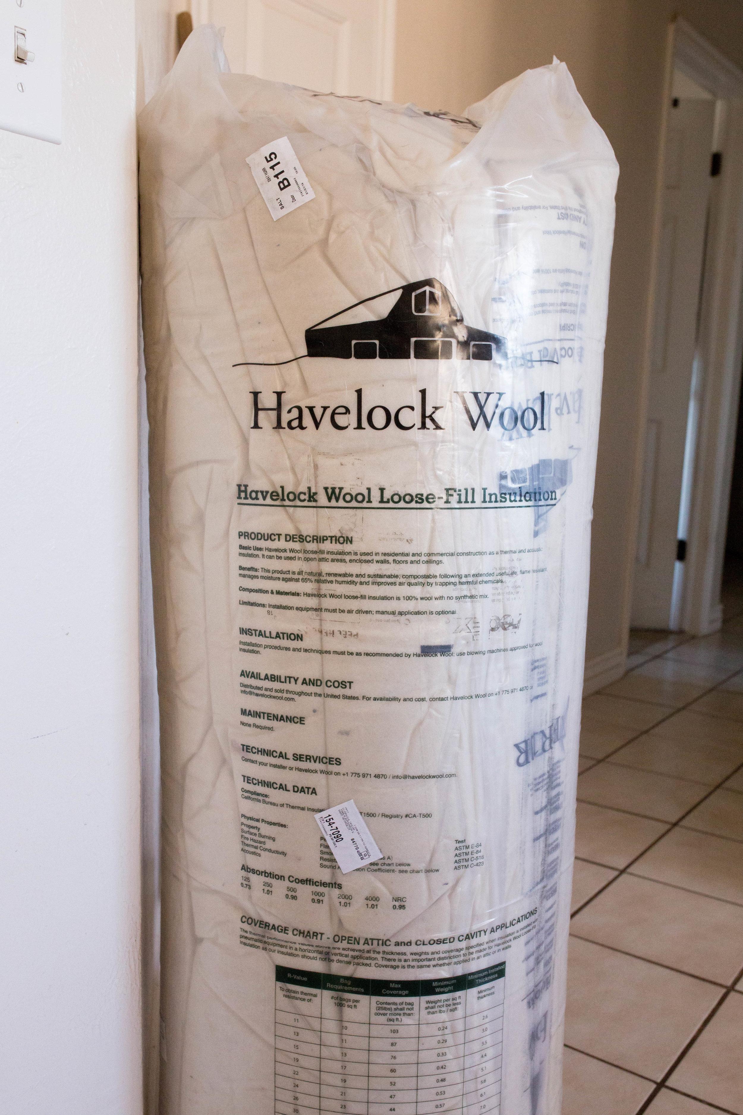 Three bags of 2-inch Havelock Wool batting -