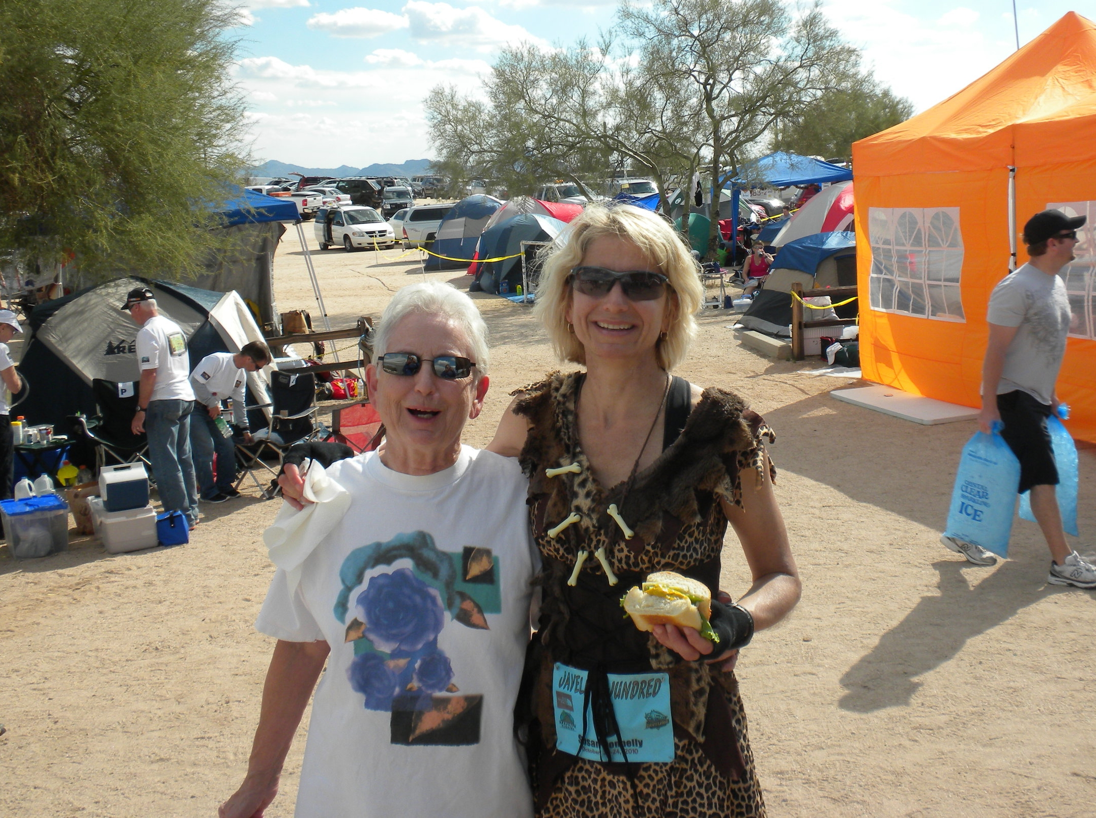 Ultramarathon mindset coach Susan Donnelly with support crew at Javelina 100-mile race