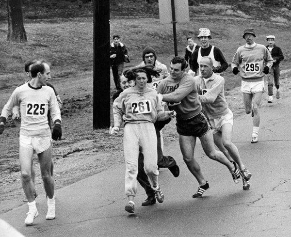 Kathrine Switzer at the 1969 Boston Marathon.