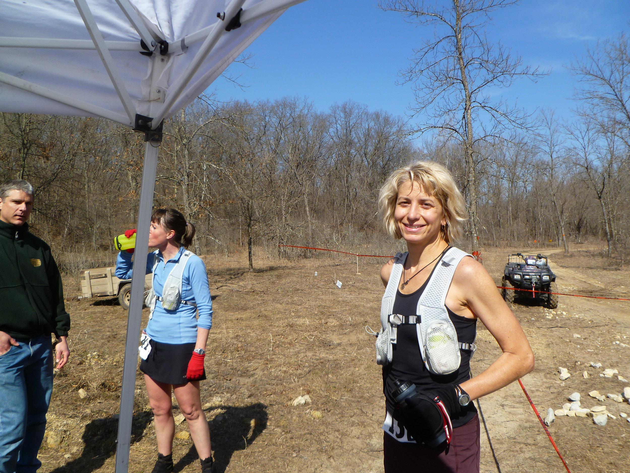Susan Donnelly at Zumbro 100 the year she took coach training.