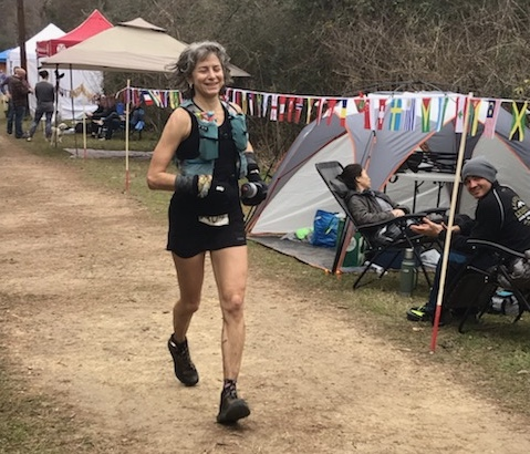 Susan Donnelly finishing Rocky Raccoon 100 mile race.