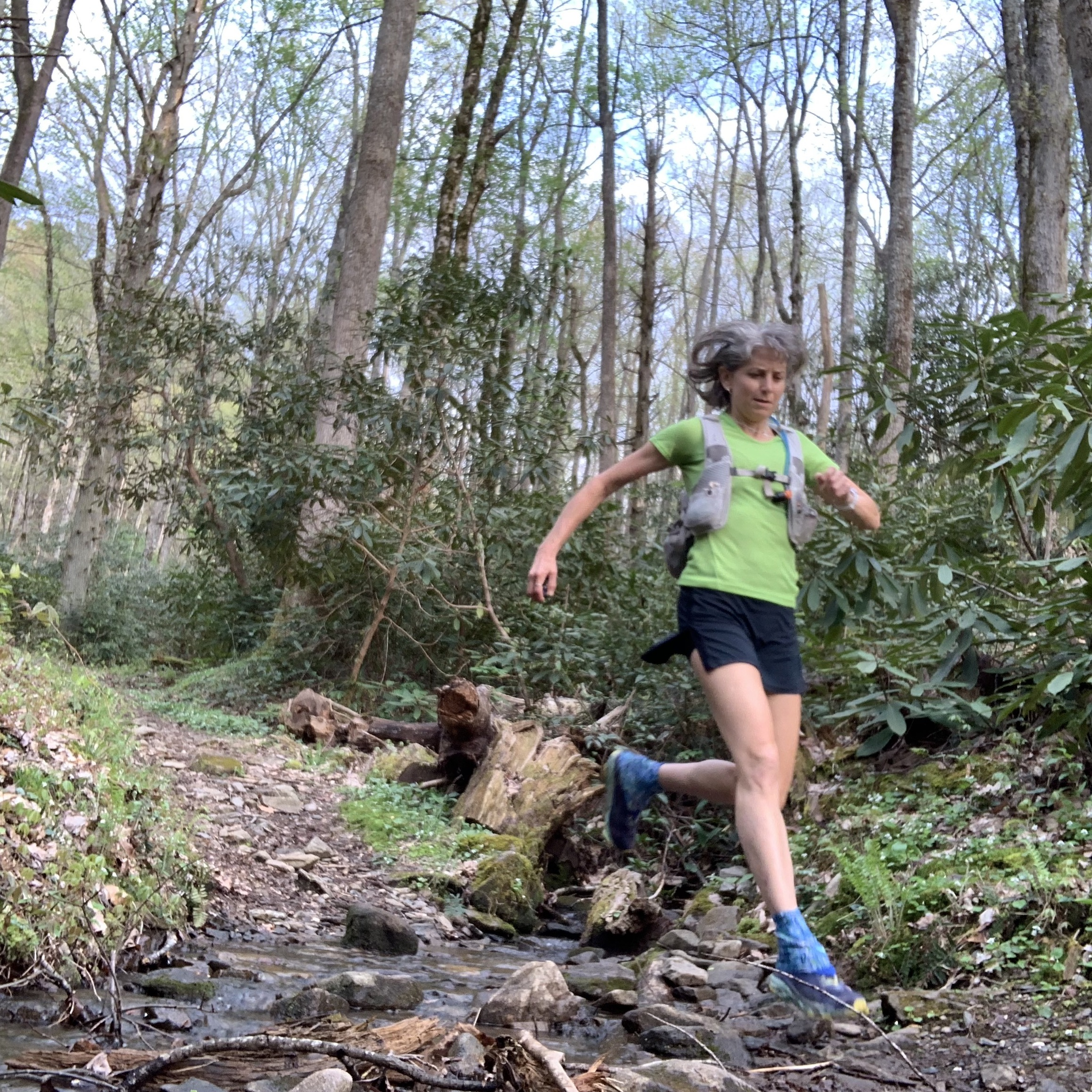 Susan Donnelly running strong in the Smokies.