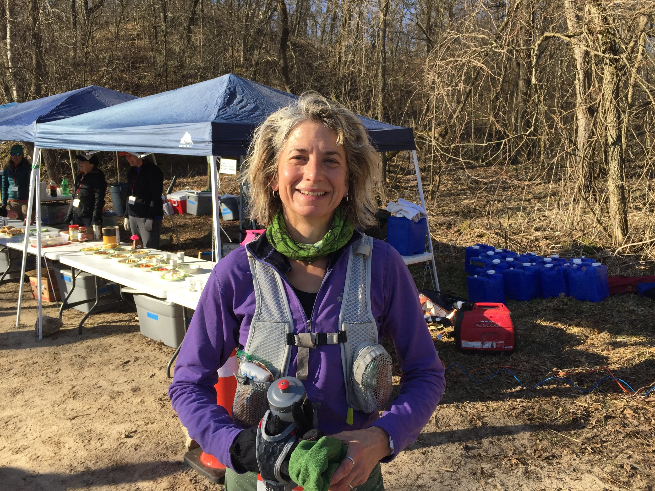 Susan Donnelly at a Zumbro 100 aid station