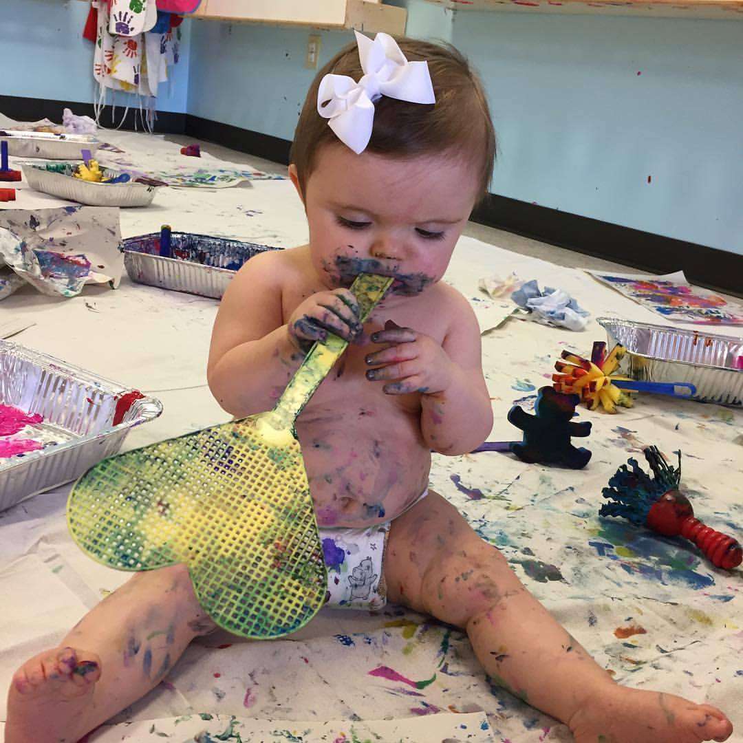 Baby Bash - $450 Private Party. This party will always be a private event. Toddlers and babies will have a blast as they roll around and play in the paint just like in Baby Michelangelo class. Each toddler/baby will get a hand or footprint art on nice paper to take home as their party gift. Each party has a party host. No clean up hassle, we take care of the mess! Up to 15 children. $14 per additional children. This party is geared for children turning 1 or 2. Birthday baby may have multiple prints done so grandparents can get copies too! Add on $26 (per 15) if you would like food pizza plates, desert plates, cups, & napkins. Table cloths are provided. Choices: Hungry Caterpillar, Paw Patrol, Minnie Mouse, Mickey Mouse, Little Zoo, artist.
