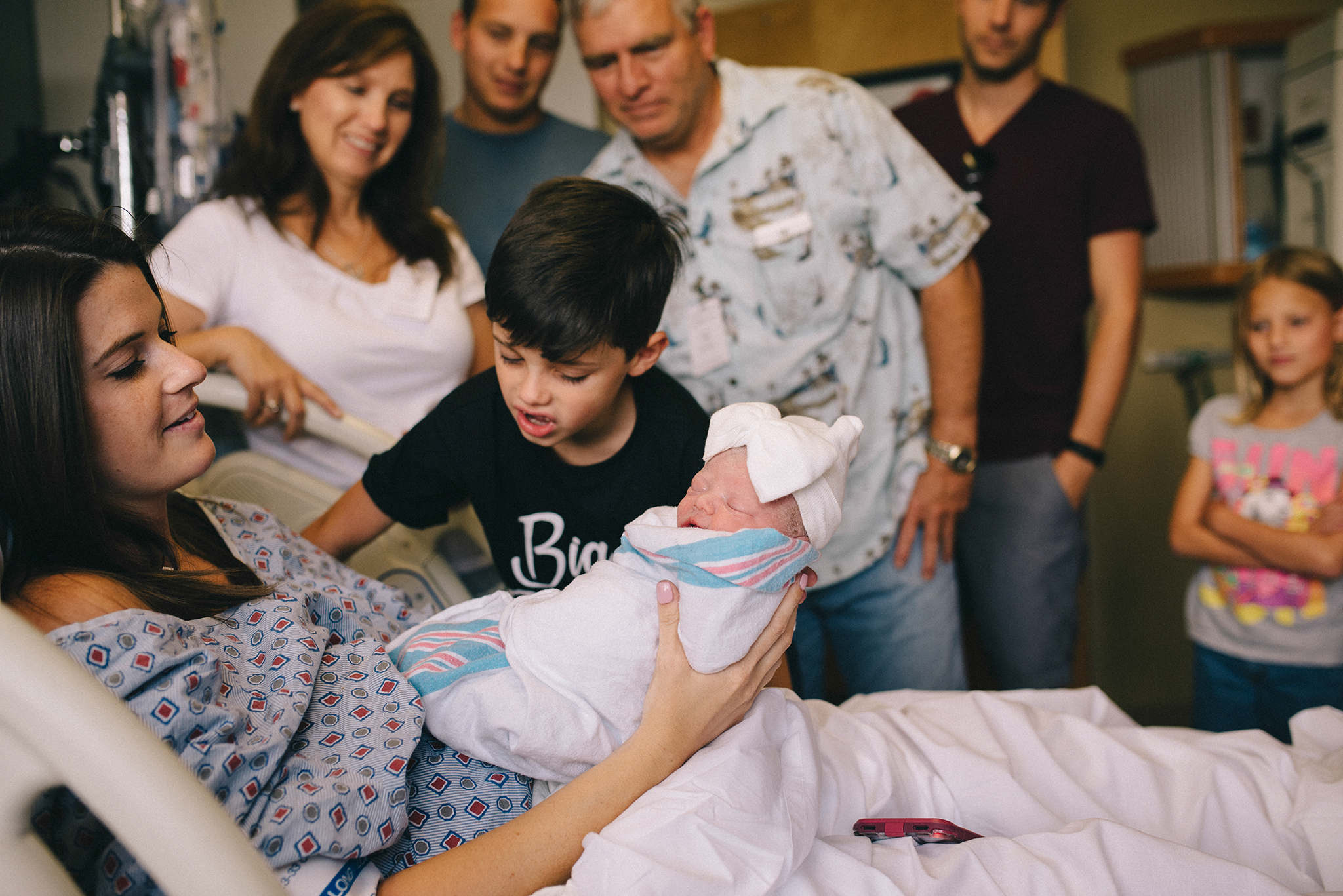 Big brother meets new little sister at Warner Robins Hospital after delivery