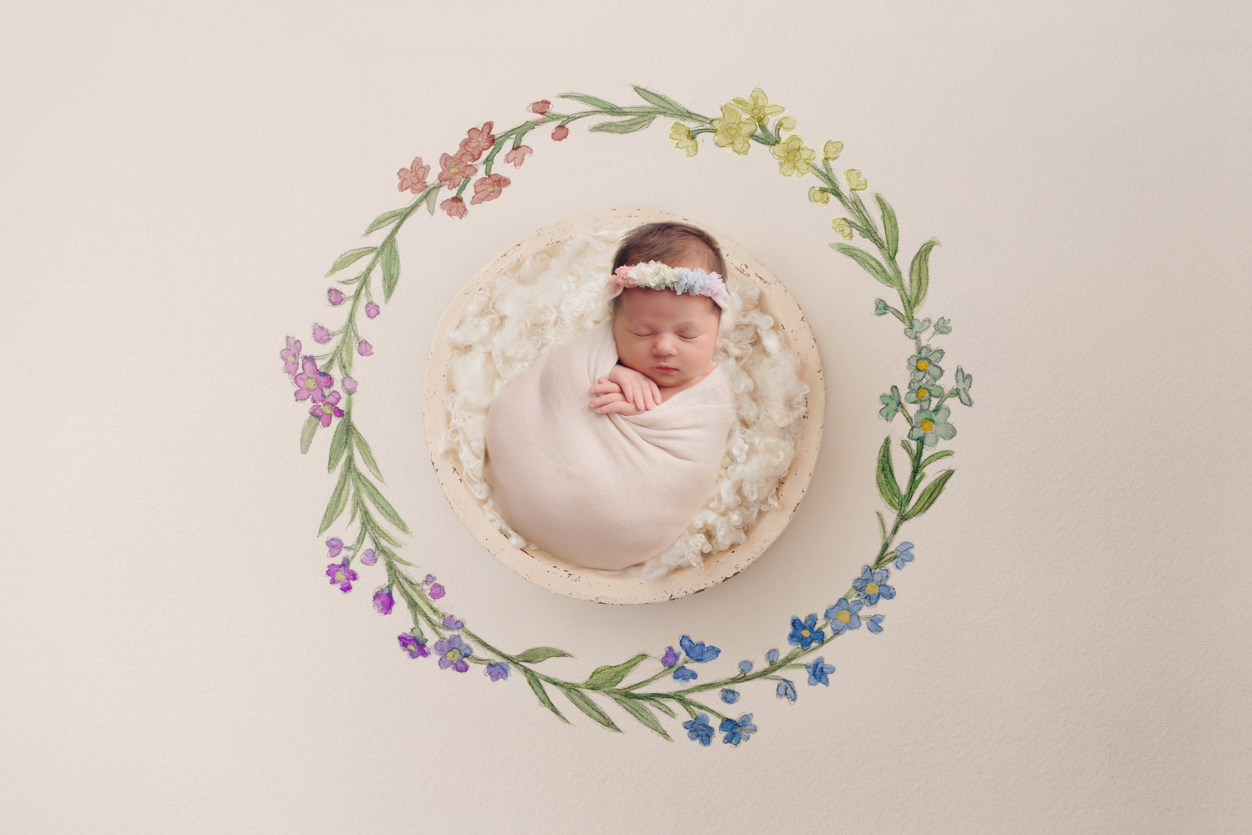 Rainbow newborn girl at studio in Warner Robins
