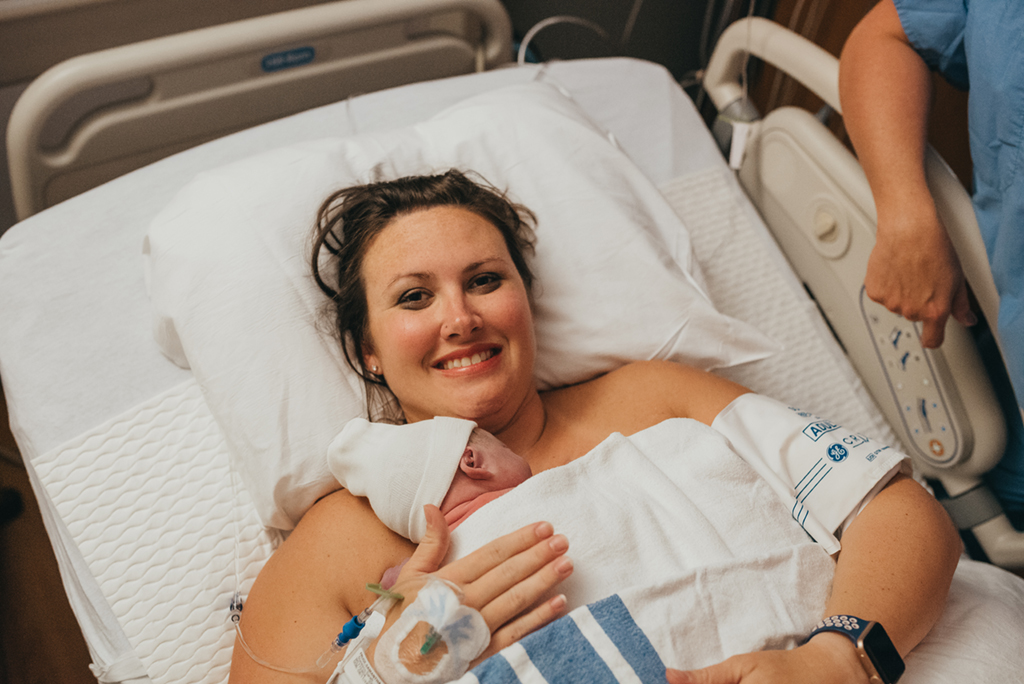 Midwife Sam Fruge has water birth in Warner Robins with Midwife Holly Cross