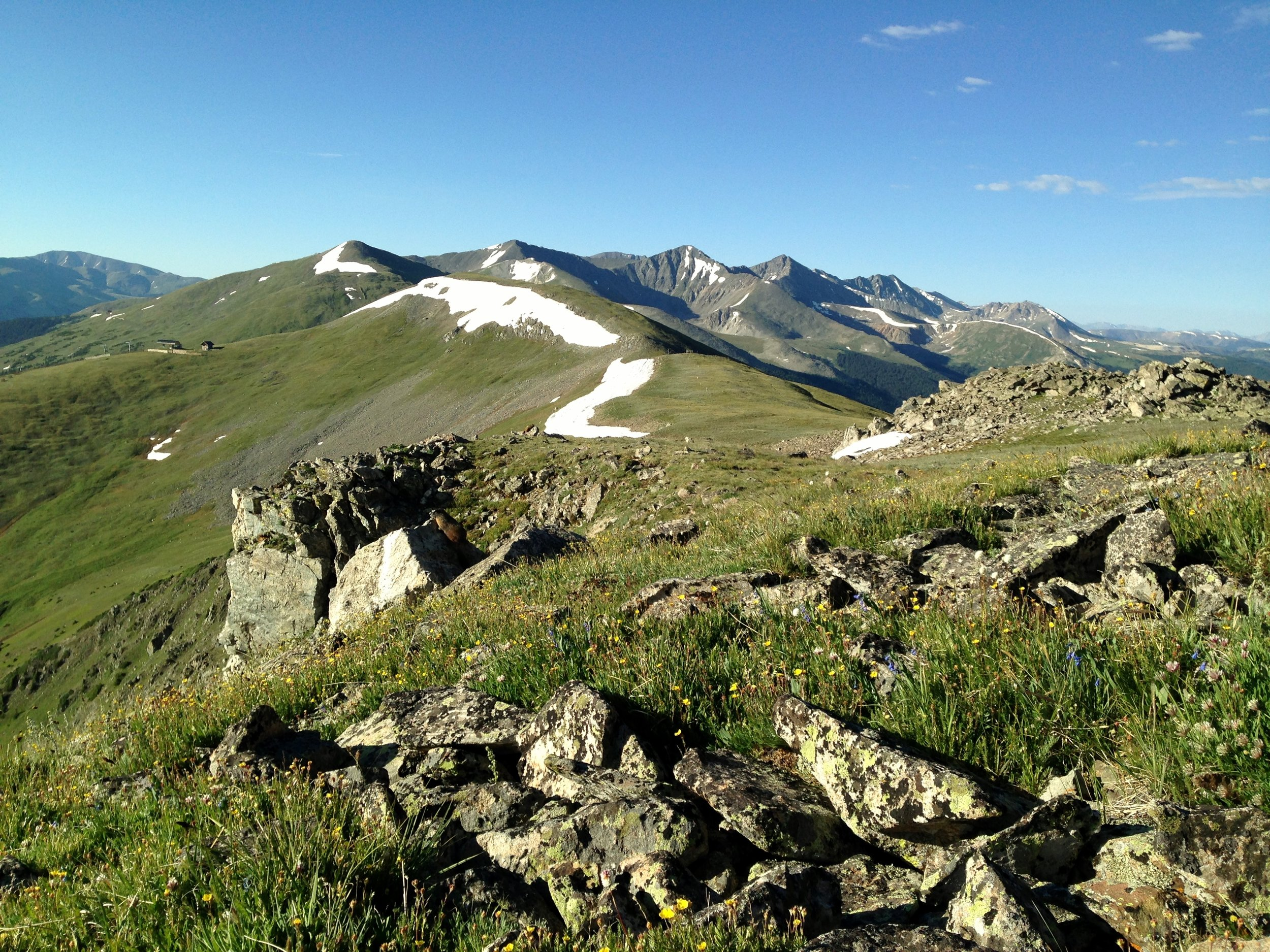 Day 10:  I hiked along the ridgeline of the Ten Mile Range on my way to Copper Mountain. Can you spot the marmot? Made the rookie mistake of packing eight days-worth of heavy food up and over these peaks.  Daily mileage: 6.1. Total miles: 110.5.