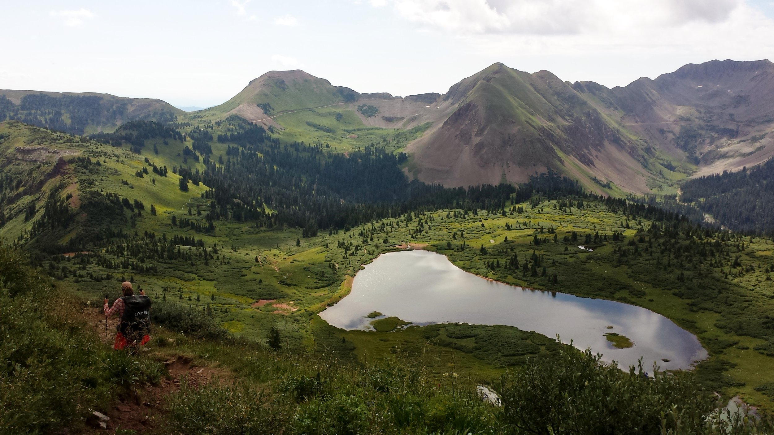 Day 35:  We hiked over the exposed Indian Trail Ridge down to Taylor Lake, ate wild raspberries, and shared stories around the campfire with a group of fellow thru-hikers. Only one day away from Durango.  Daily mileage: 16.7. Total miles: 485.6.
