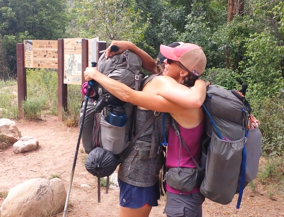 "LAST DAY:  Finish line! Bittersweet tears and hugs with my trail sister ""Trapezoid."" We made it to the Junction Creek Trailhead in Durango on August 10, 2016. Including the side trips to summit nearby 14ers, I hiked nearly 500 miles, and 100,000 feet in elevation, during my five weeks on the CT.  Daily mileage: 13.5. Total miles: 499.1."