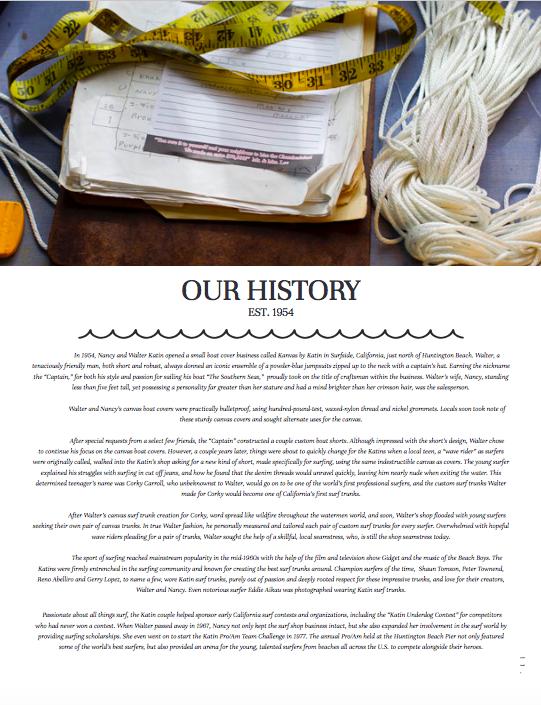 Katin brand story for seasonal catalogs.