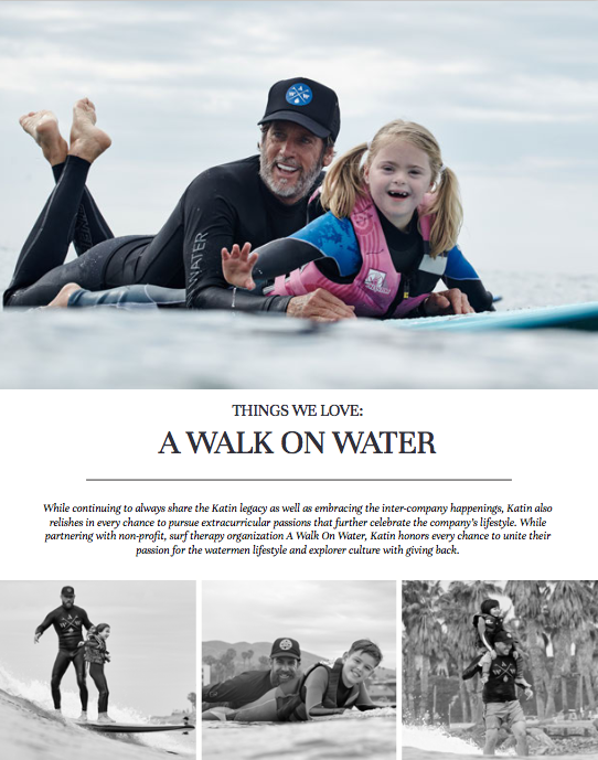 A Walk On Water Surf Therapy Charity Partnership catalog copy.