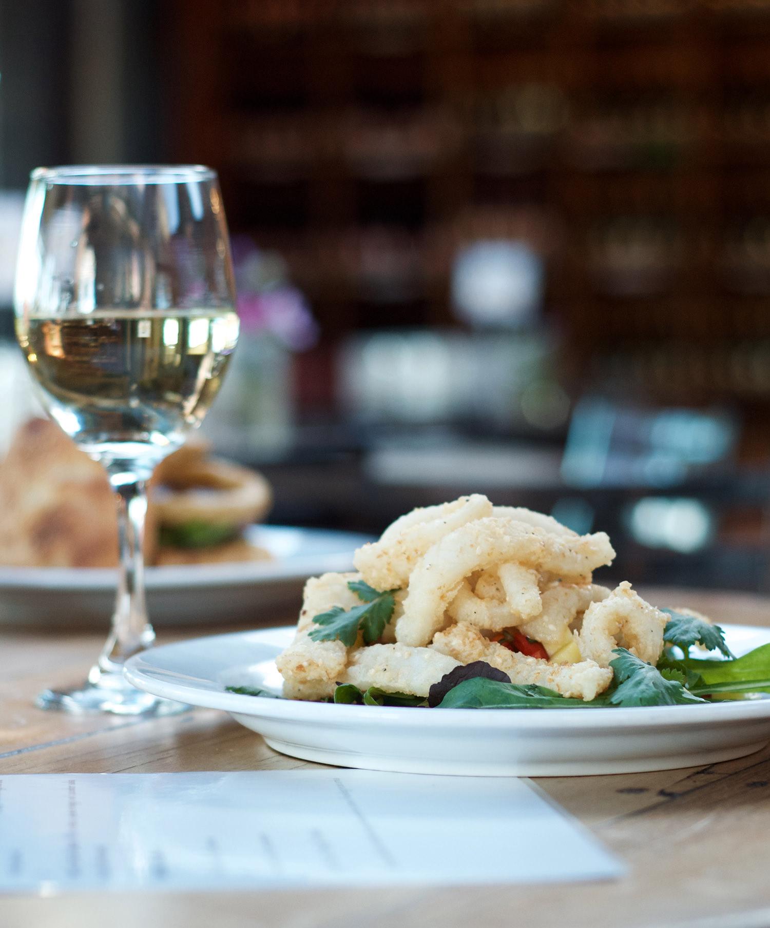 Calamari and wine at the restaurant at Crab Farm Winery