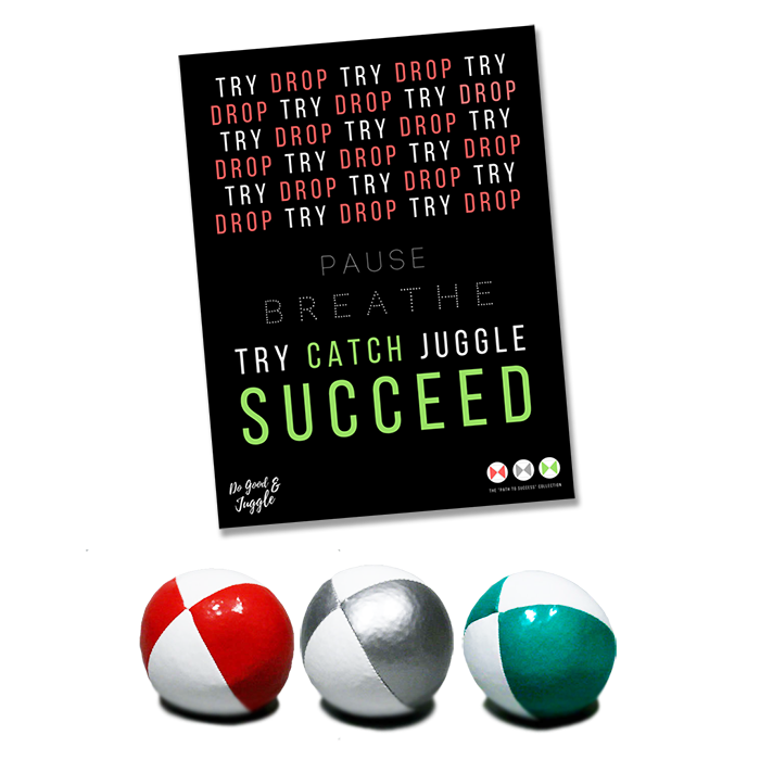 """The """"Path to Success"""" Collection:Three Juggling Balls + Poster"""