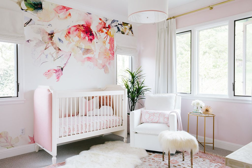 Wallpaper , Window Treatments , Crib , Bedding , Glider , Blush Rug , Sheepskin Rug (Home Goods) similar + here , Side Table , Fur Stool , Pendant Light